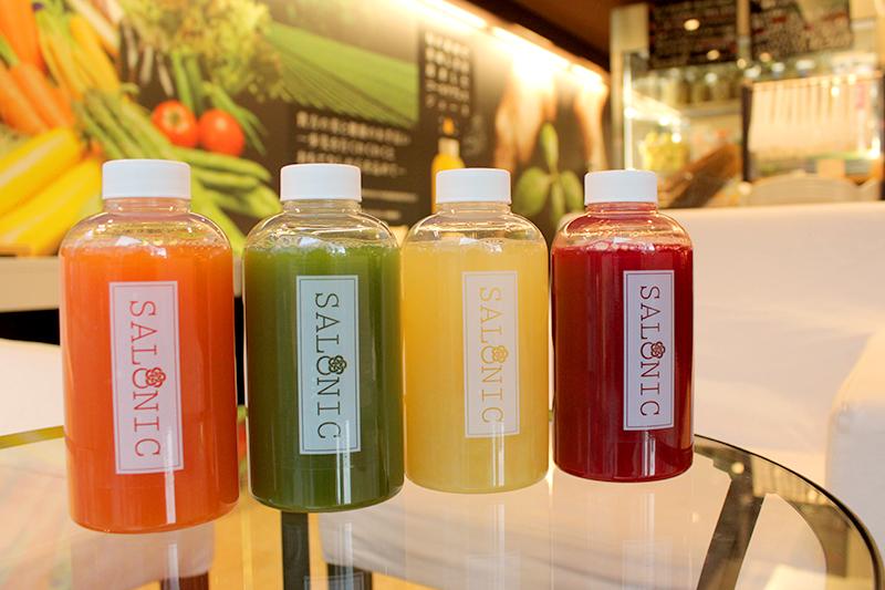 左から「肌」、「身」、「健」、「極」。食材は、高知県など様々な産地から取り寄せた野菜や果物を使用