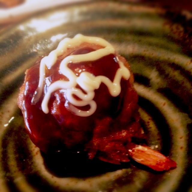 たこ焼きとは全然違う、 プリンプリンの海老の食感がたまんないです。