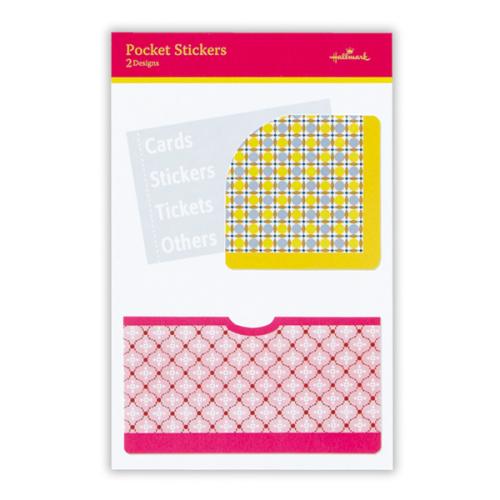 ダイアリーやノートに貼って、名刺やレシートを収納できる「ポケットシール」(147×110mm・2柄・各1枚入・各336円)