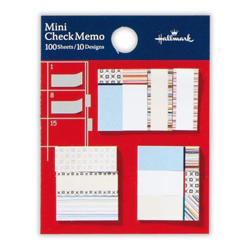 ひとこと書いてメモするのに便利な「ミニ付箋」(台紙90×70mm・付箋10×25/25×10mm・10柄・各10枚ずつ・各399円)。マンスリーページの枠内にも収まるよ♪