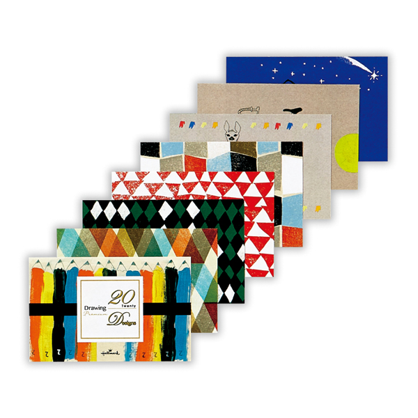 「20 Designs ミニメッセージカード箋/ドローイング」(20柄20枚入・410円)