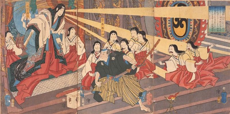 月岡芳年「播州姫路於佐壁狐を宮本無三四が退治せん」