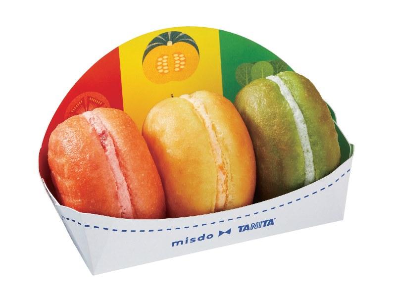 8/25(金)から期間限定販売!『ミスタードーナツ』が『株式会社タニタ』と共同開発したカラフルな野菜ドーナツ「ベジポップ」