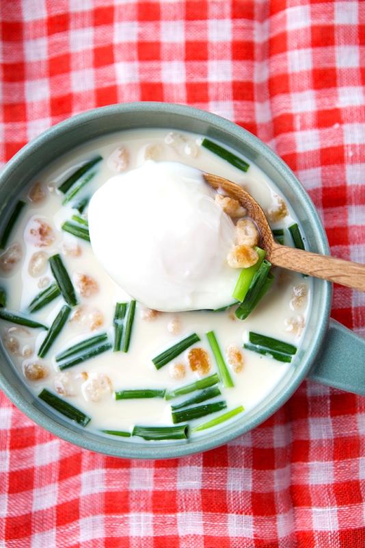 「きほんの和風・豆乳と卵のスープ」