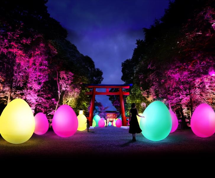 古都・京都の世界遺産『糺の森』が光のアート空間に。「下鴨神社 糺の森の光の祭 Art by teamLab」開催