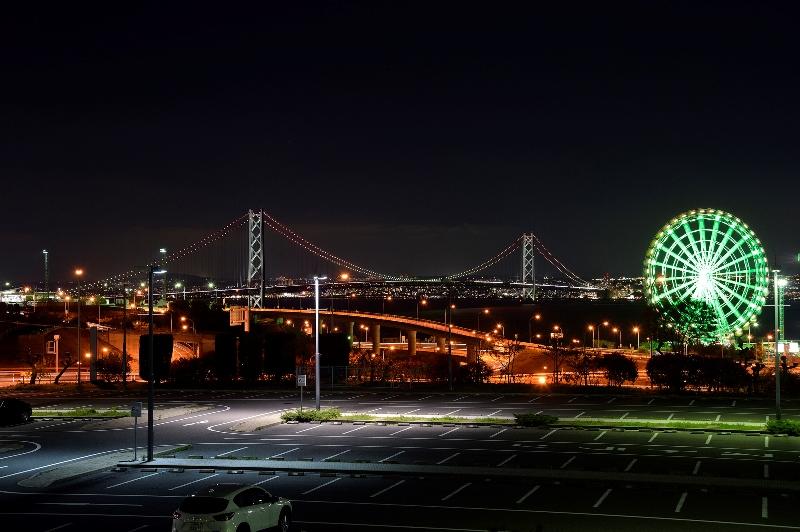 BBQハウス「モスタージ」からの明石大橋夜景