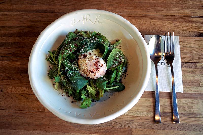 とろーり半熟卵のせ 緑野菜たっぷりグリーンカルボナーラ~バジル風味~