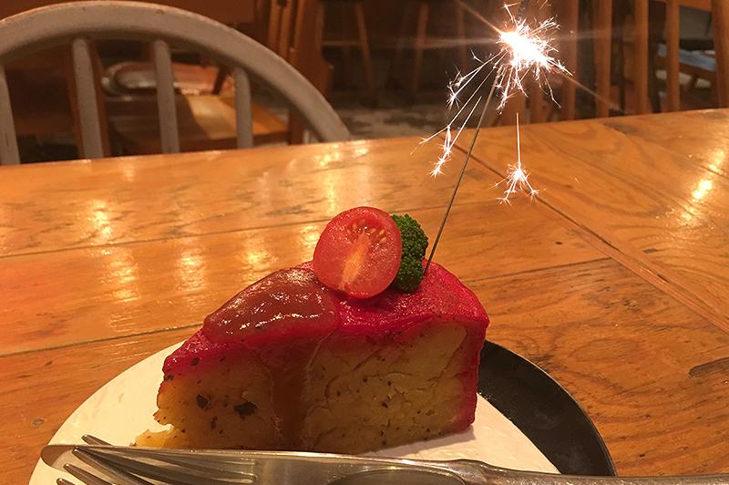 頂鯛の肉じゃがのケーキ仕立て