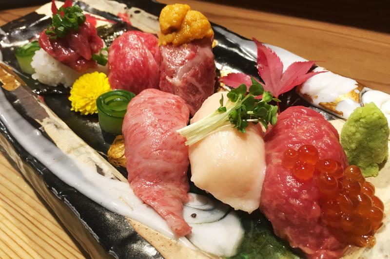 大阪・梅田『肉の寿司×焼鳥 okitaya』女性のお客様に大人気の肉ざんまいメニューを堪能!