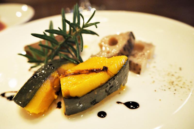 蓮根・カボチャ・ごぼうが入った「季節野菜の盛り合わせ」
