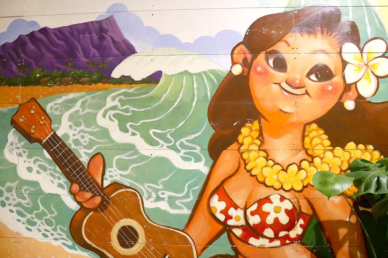 ハワイアンなイラストの壁