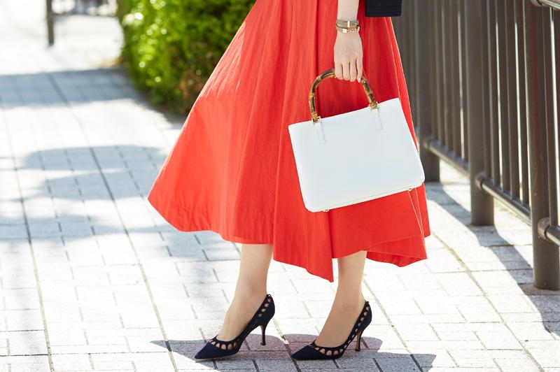 """きれいなカラースカートをオフィスで着よう!""""夏美人""""を作るミモレフレア"""