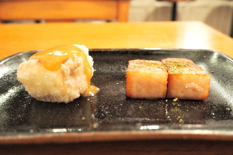 肉巻き豆腐とベーコン