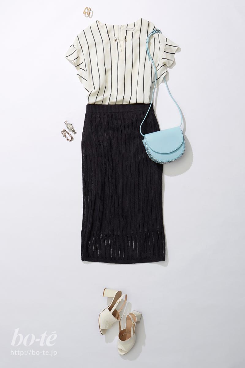編み目の透け感が軽やかに夏らしいタイトスカート