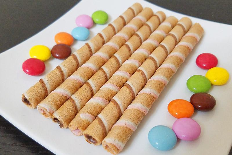 ワッフル菓子とチョコレート