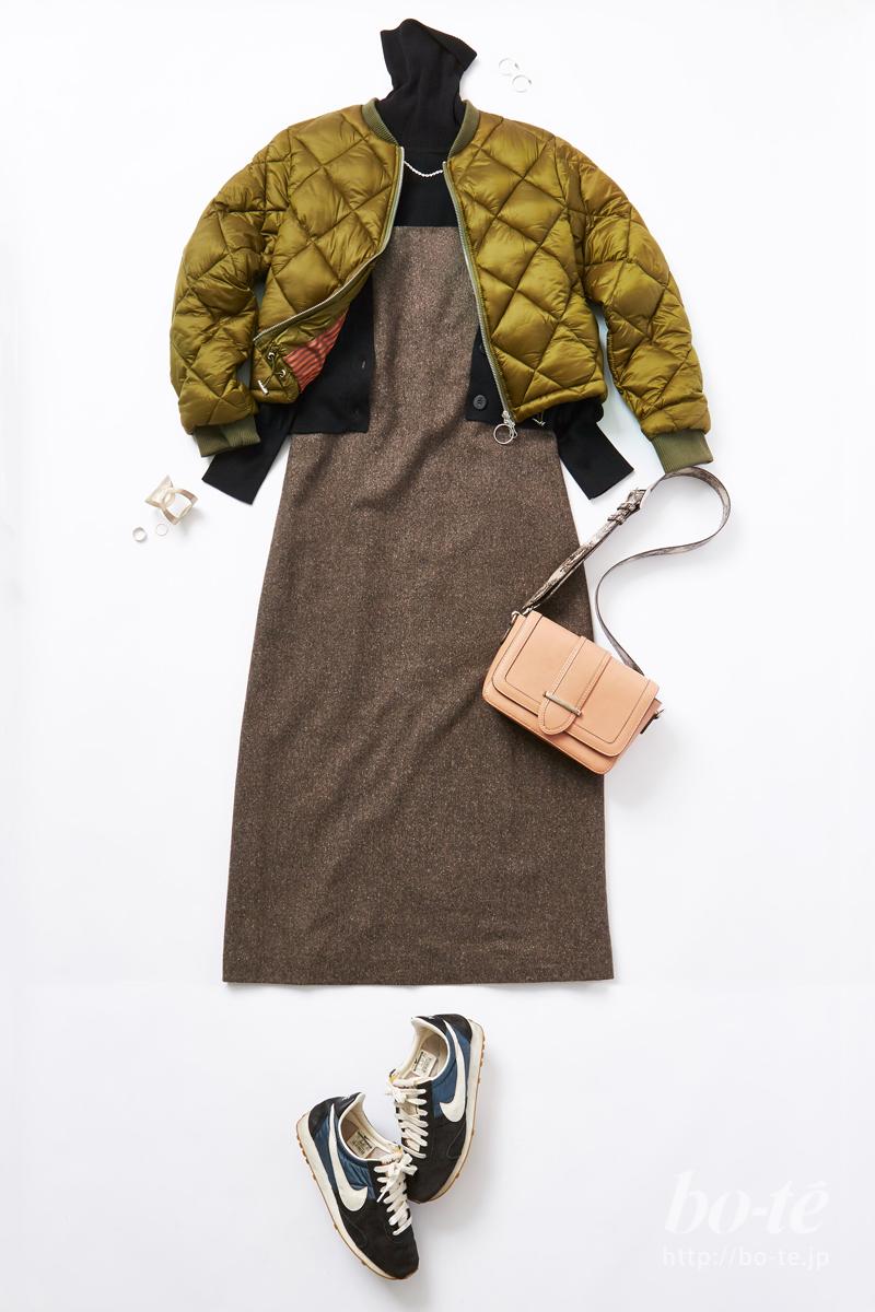 きちんと感がありつつ締め付け少ない冬素材の「ジャンパースカート」