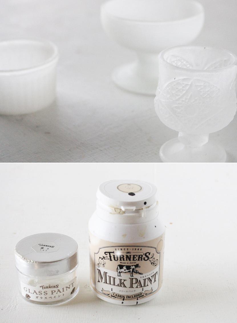 TURNERSのガラスペイント曇りとミルクペイントのクリームバニラを使用