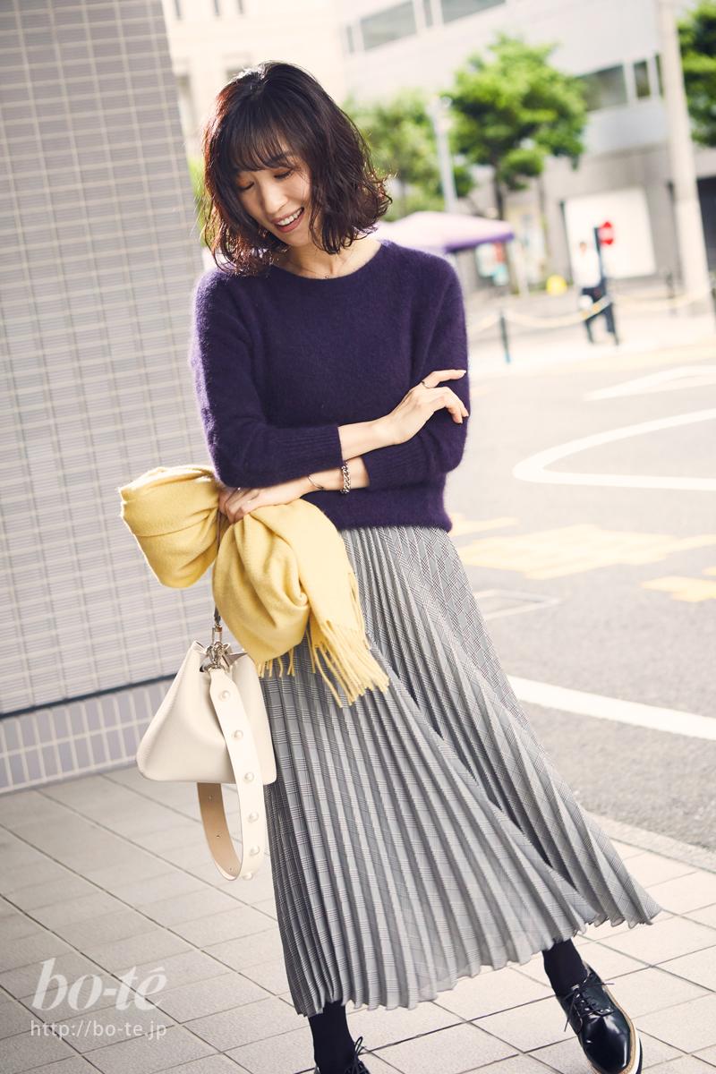 あらゆる着丈に合わせやすいロング丈のスカート