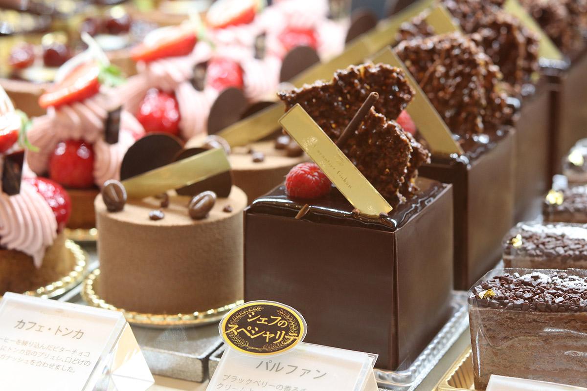 チョコレートケーキのアップ
