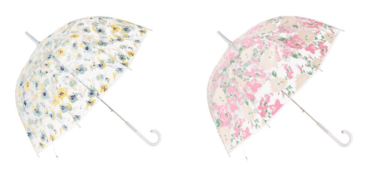 「プリュイ ビニール傘」(左:スモールフラワー、右:ビッグフラワー・サイズ:58cm・各1,000円)