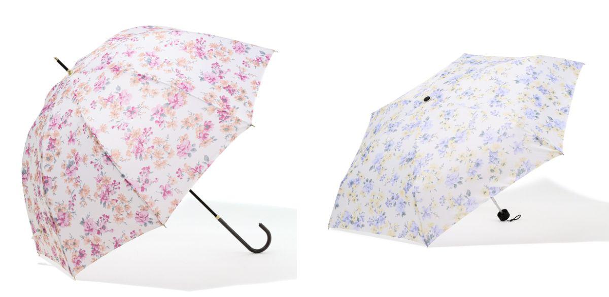 左「ロマンティックフラワー長傘」(色:ピンク/ブルー・サイズ:58cm・2,200円)、右「同 折傘」(色:ピンク/ブルー・サイズ:50cm・2,400円)