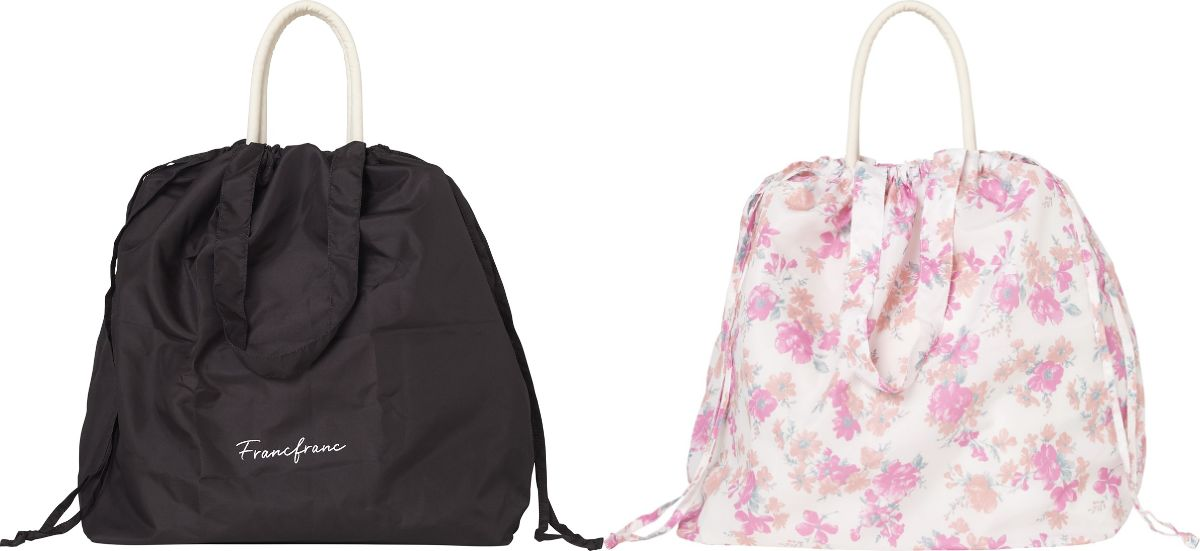 「レインバッグカバー」(左:ロゴ、右:フラワー・1,200円)
