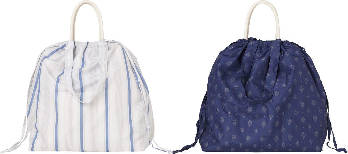 「レインバッグカバー」(左:ストライプ、右:ペイズリー・1,200円)