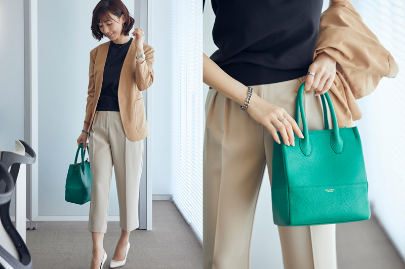 鮮やかなきれい色のバッグ