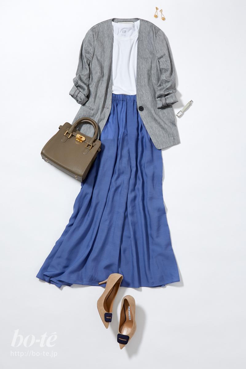 グレージャケット×シルク混ロングスカート