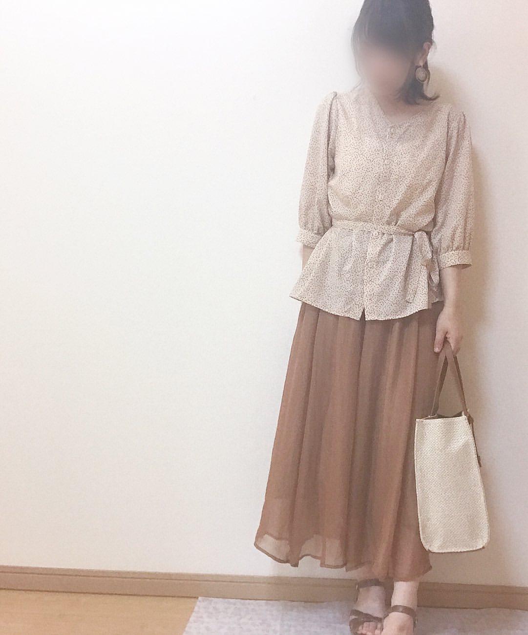 シアー素材スカート2