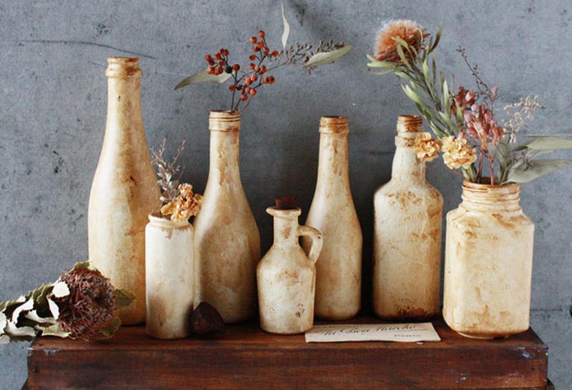"""【連載】ガラスが""""陶器""""のように!?アンティークペイントで「陶器風ボトル瓶」を作ろう!"""