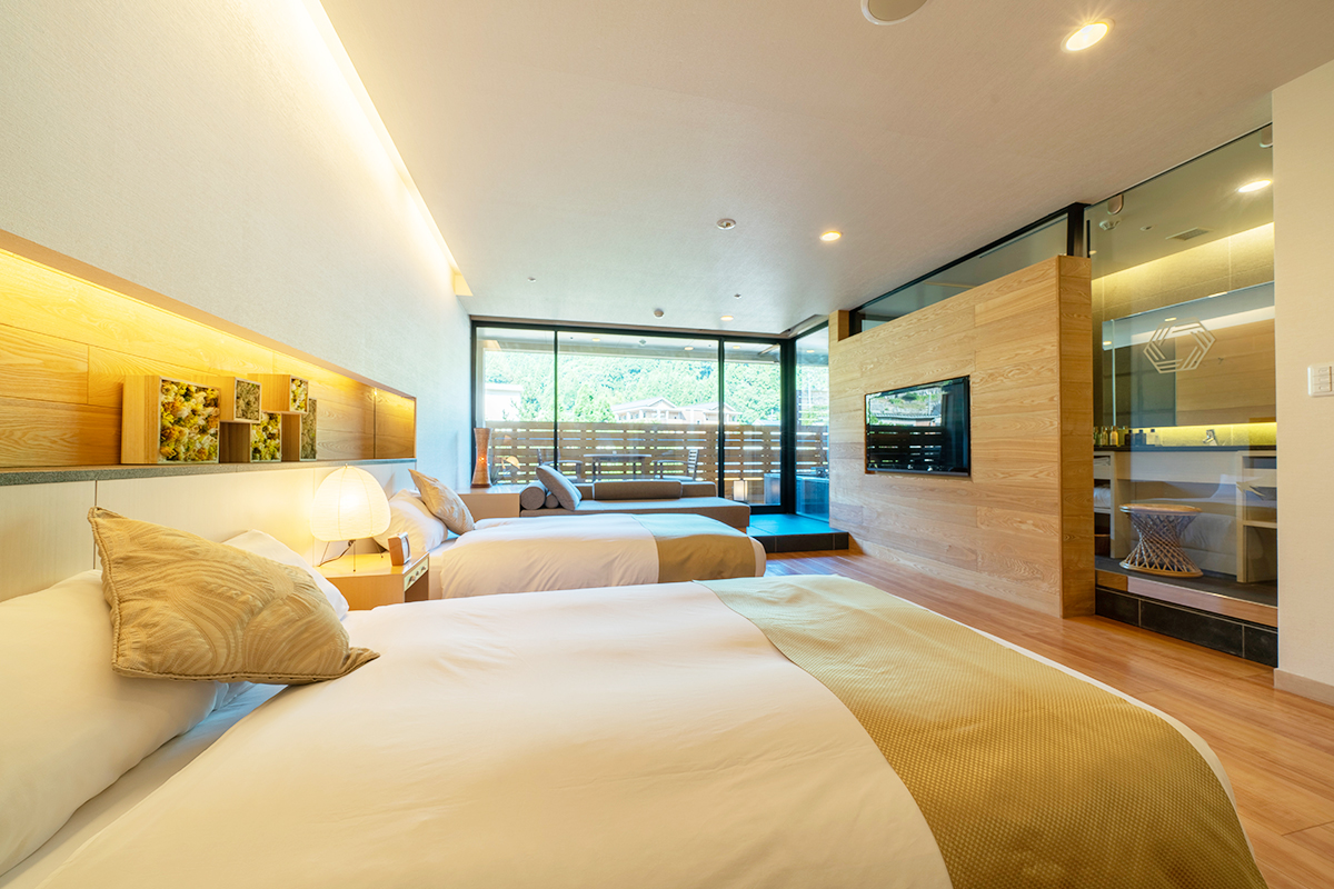 《記念日旅行やカップル旅行に》兵庫・湯村温泉『ゆあむ』の露天風呂付き客室が人気