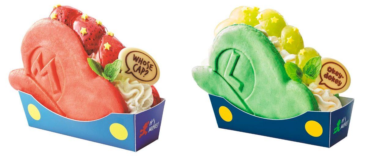 「パンケーキ・サンド マリオの帽子~いちごのショートケーキ~」、「同 ルイージの帽子~~ぶどうのレアチーズケーキ」(各700円)