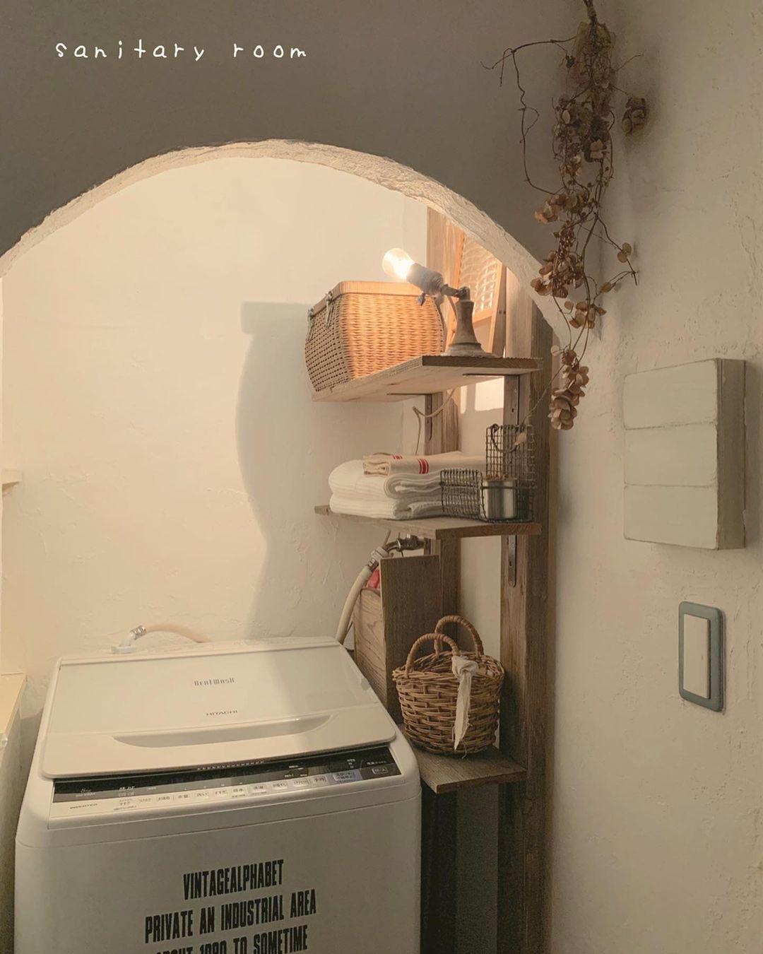 ディアウォールで洗濯機横の空間を活用