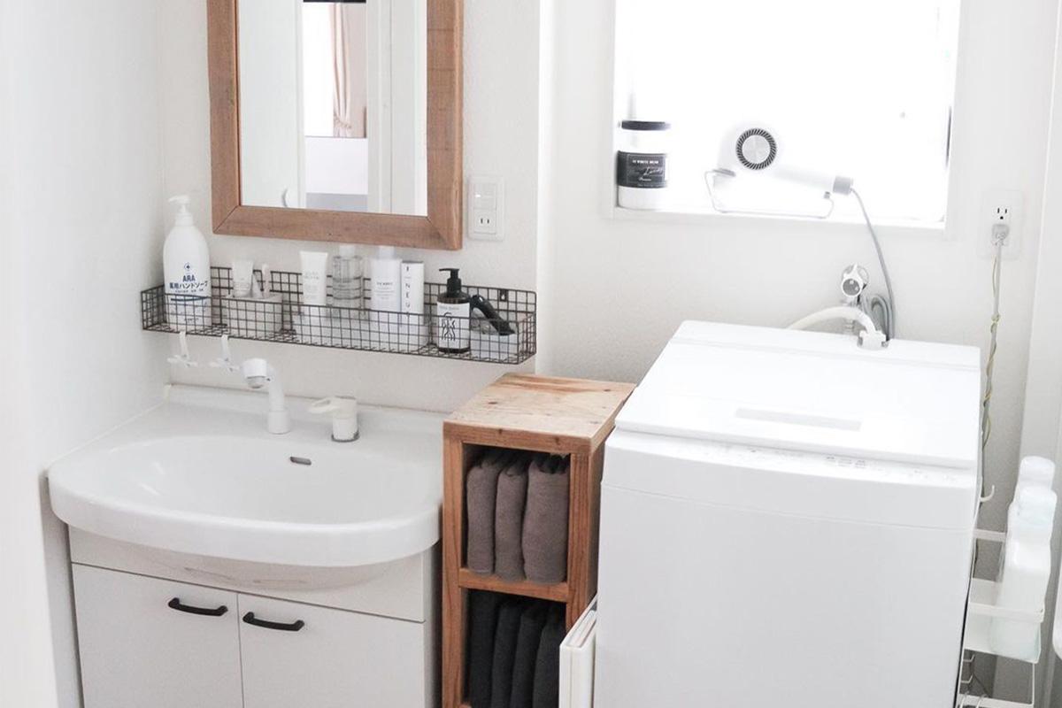 洗面所の収納力アップ!ドライヤーや化粧品などを隠して生活感をなくす方法