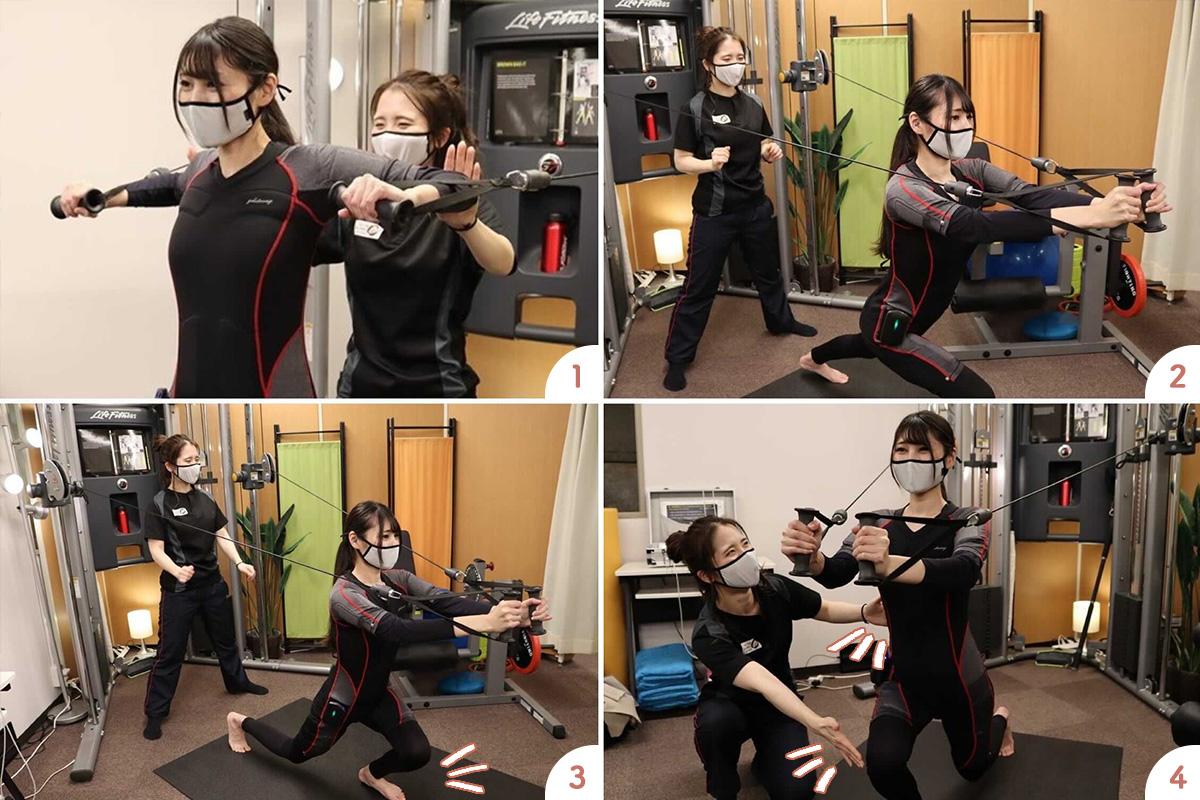 大阪梅田のトレーニングスタジオPOUのEMSトレーニングで脚やせエクササイズ