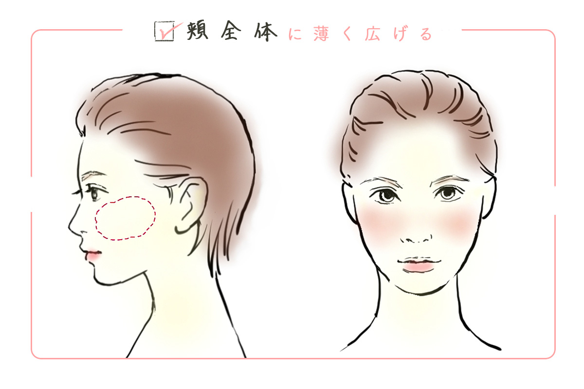 頬全体に薄く広げるチークの塗り方