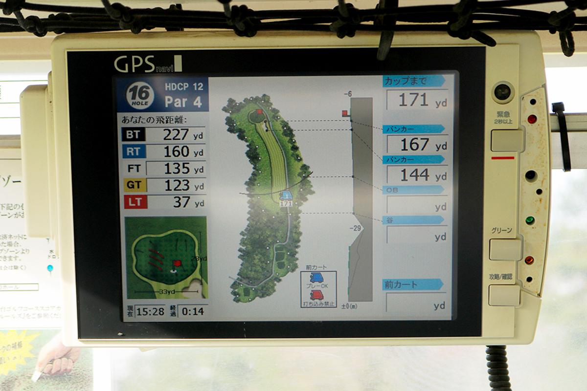 ゴルフカートの画面