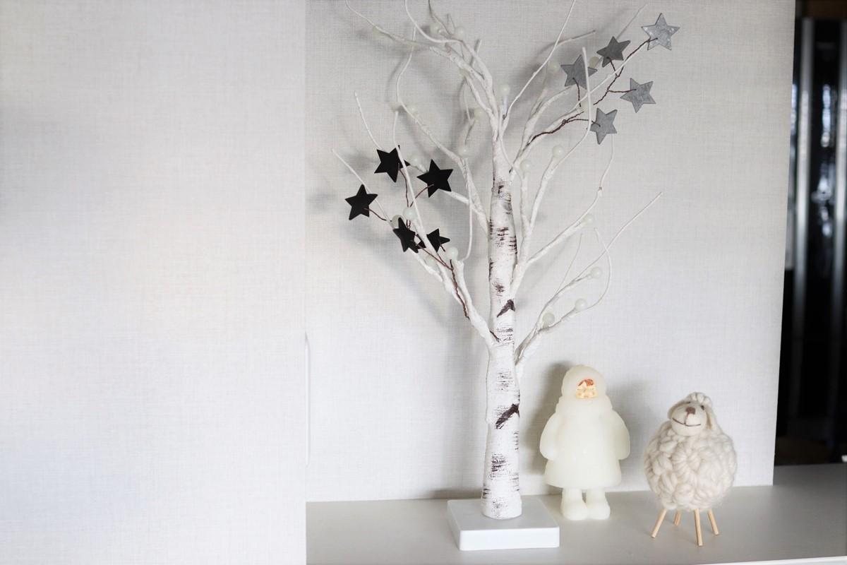 冬のオブジェと一緒に飾る