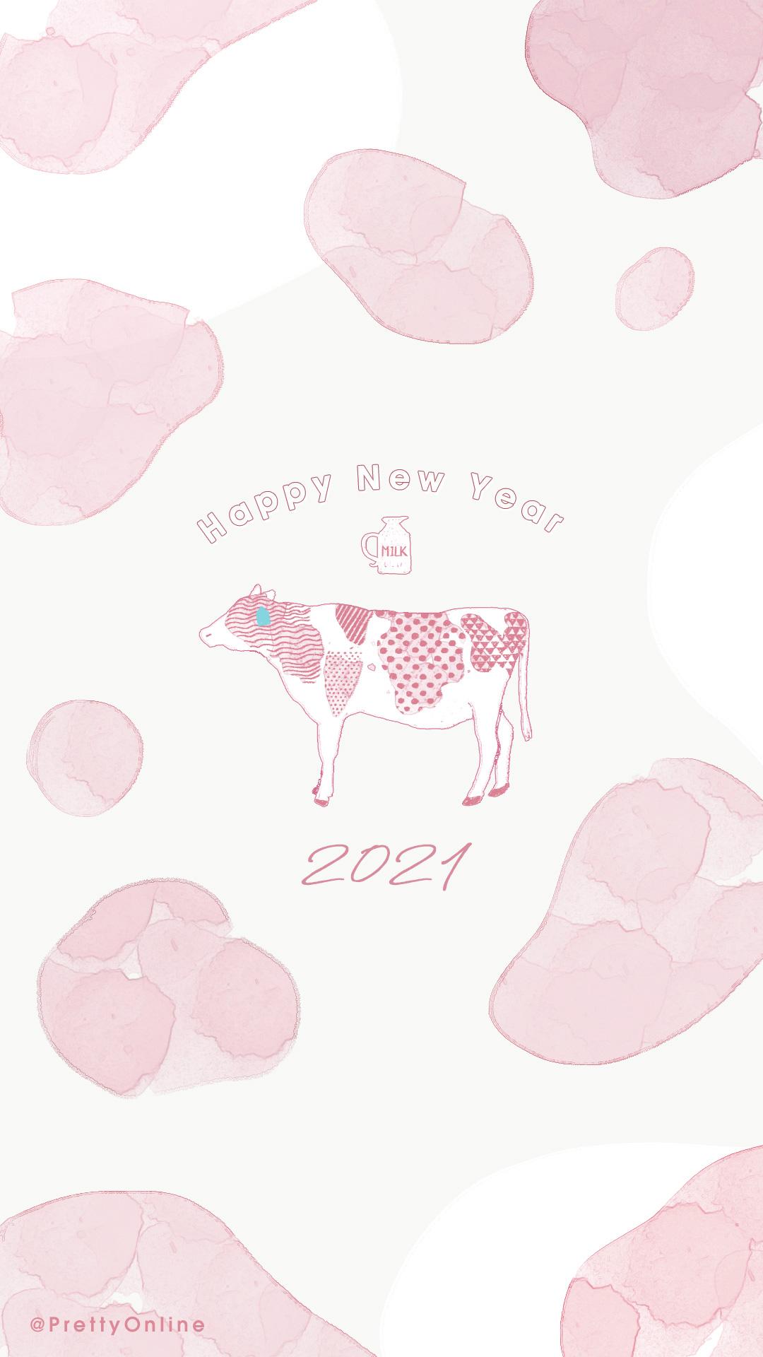 年賀状 ピンク