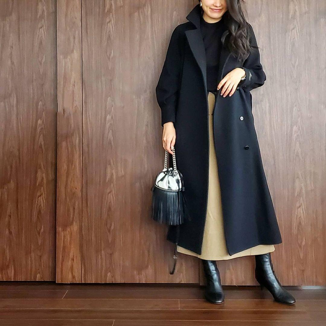 ロングスカート×コート