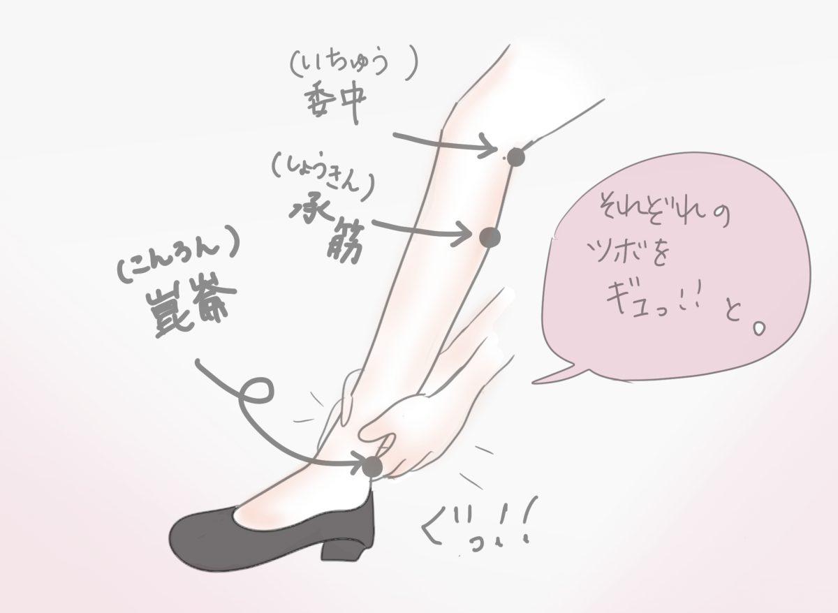 足首〜ひざ裏をマッサージ