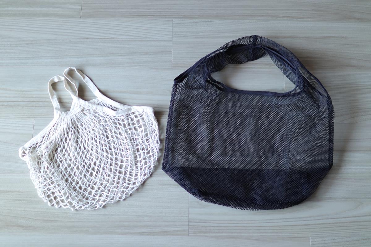 ダイソーの2種類のメッシュバッグ