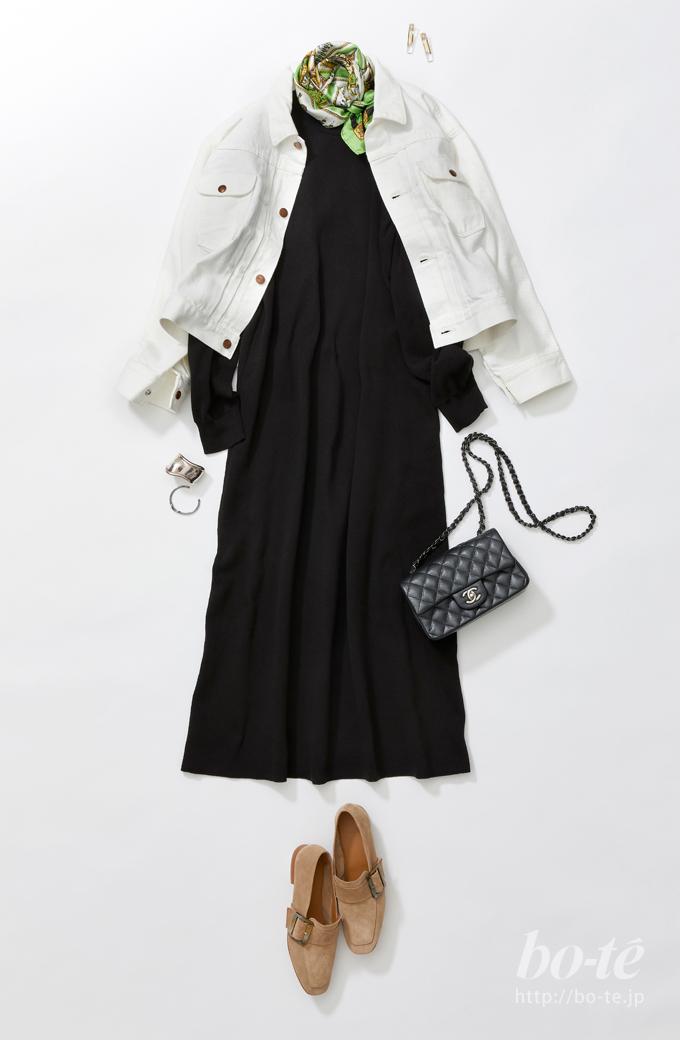 ホワイトデニムのジャケットコーデ