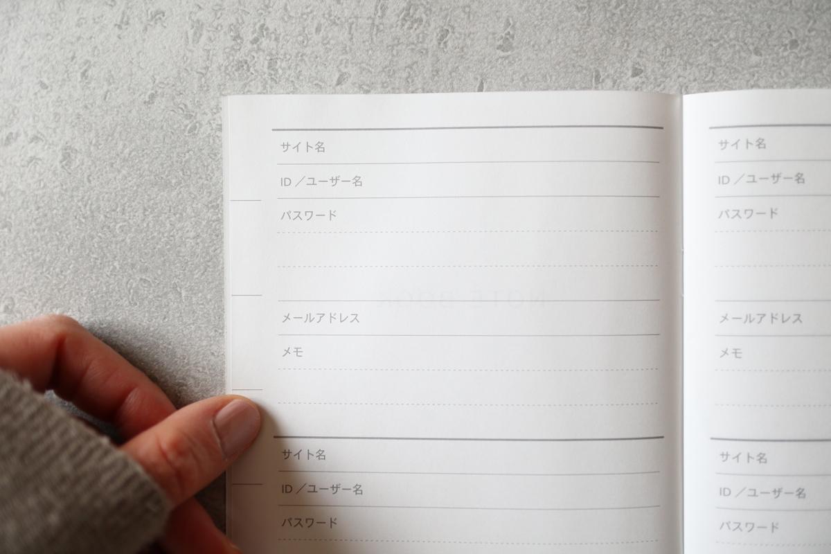 パスワード管理ノート中身