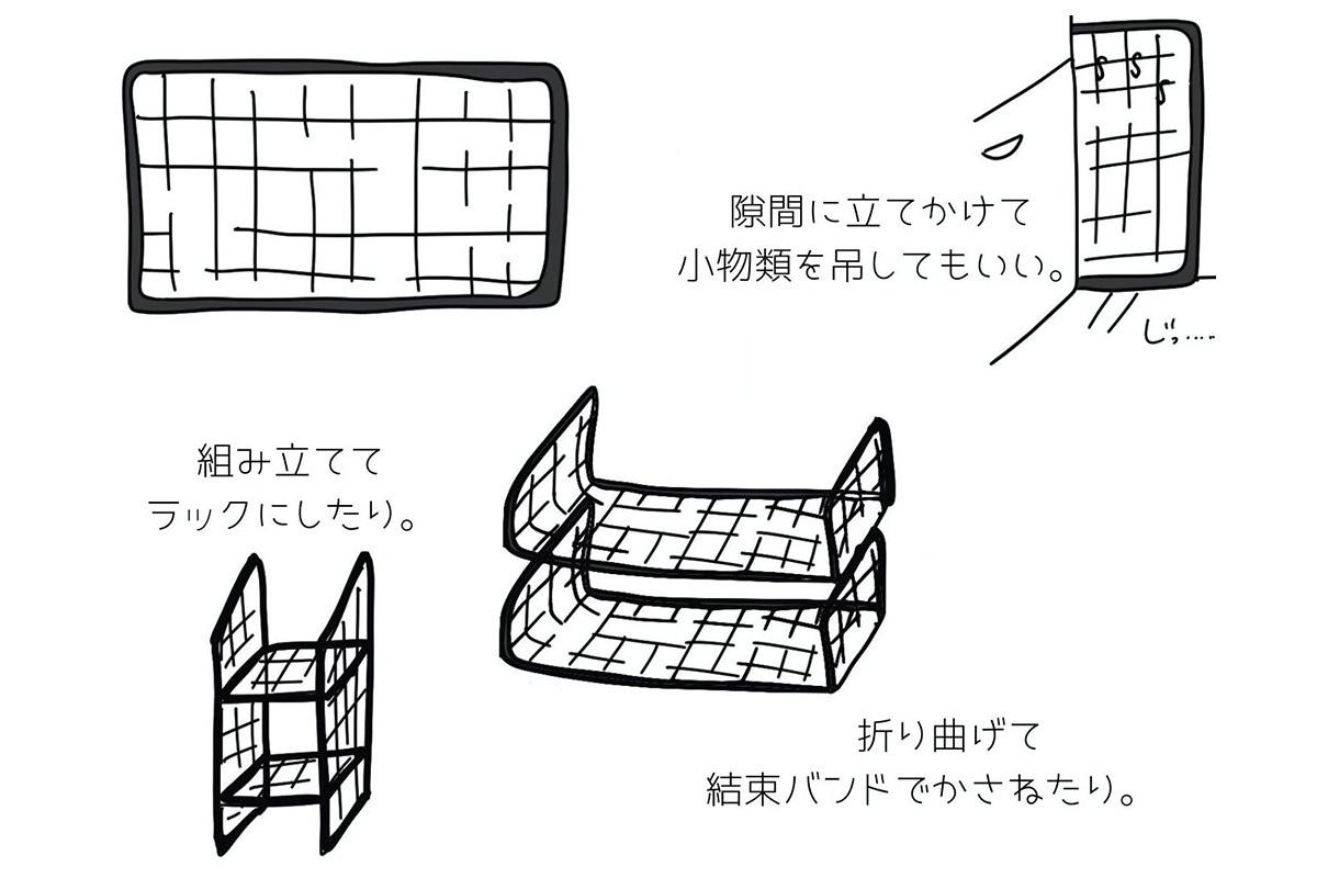ワイヤーラックの活用方法のイラスト