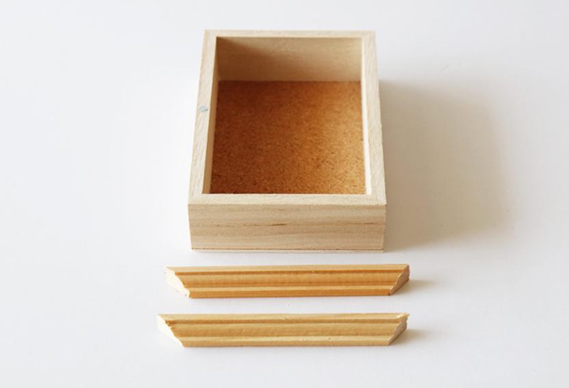 縦型1マスの木製トレイ