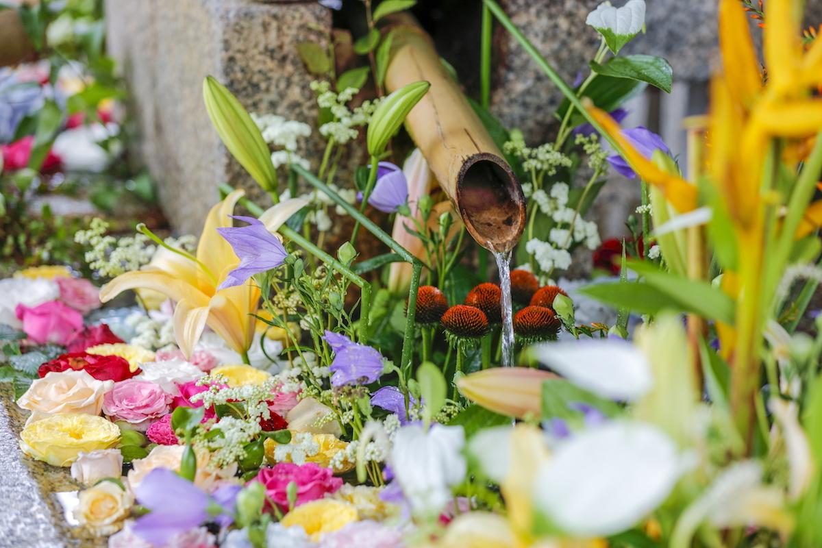 北野天満宮の生け花のような花手水