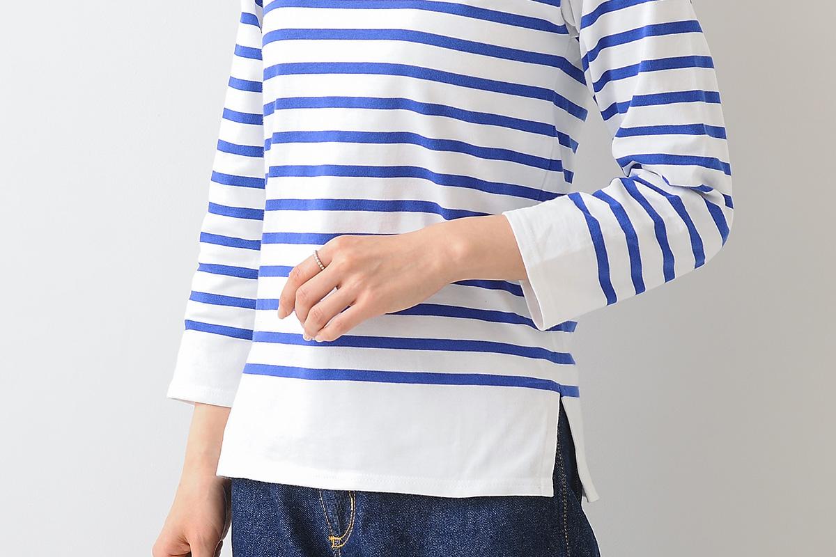 ボーダーシャツのスリット