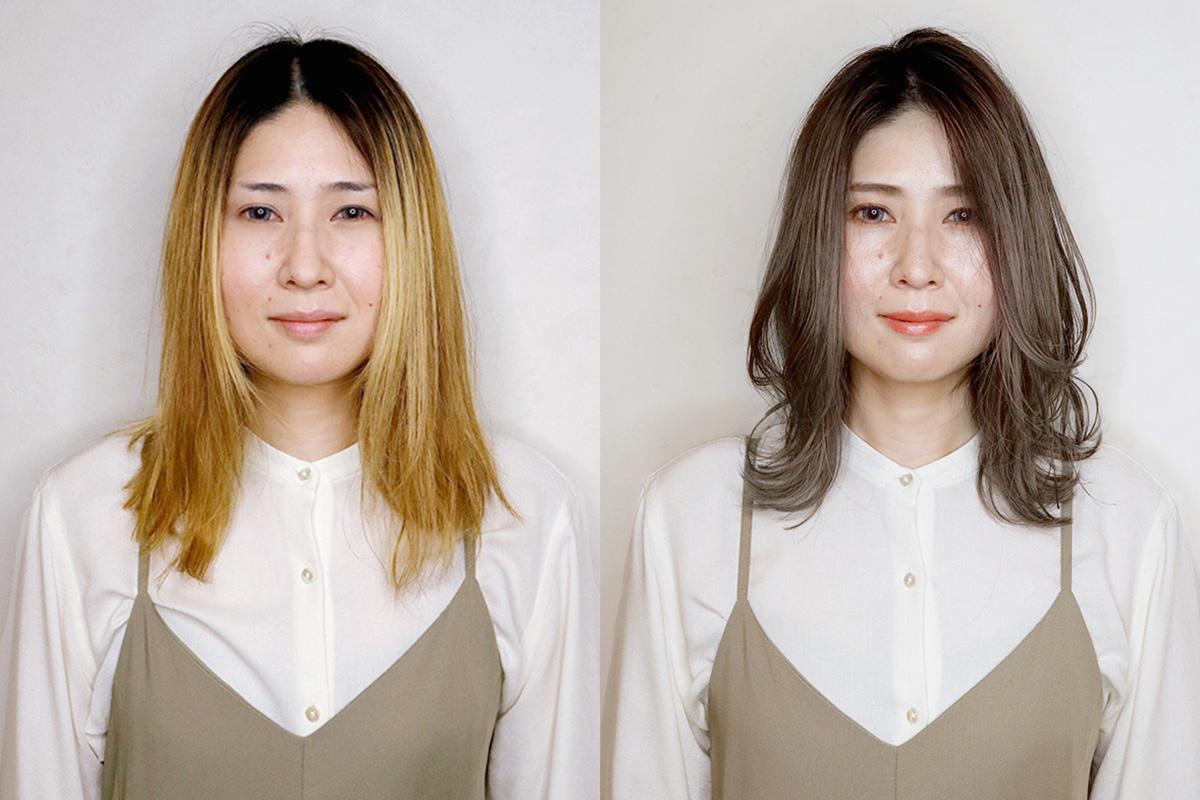 大人女性向け透明感ヘアカラーと眉メイクでツヤ美人に大変身!【vol.2】